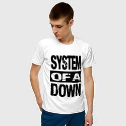 Футболка хлопковая мужская System Of A Down цвета белый — фото 2