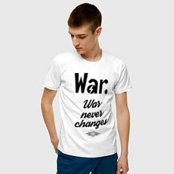 Футболка хлопковая мужская War never changes цвета белый — фото 2