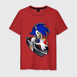Футболка хлопковая мужская Sonic цвета красный — фото 1