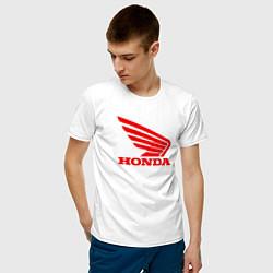 Мужская хлопковая футболка с принтом Honda Red, цвет: белый, артикул: 10073079500001 — фото 2