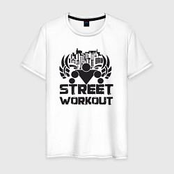 Футболка хлопковая мужская Street workout цвета белый — фото 1