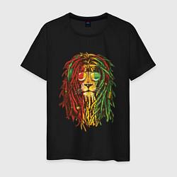 Футболка хлопковая мужская Rasta Lion цвета черный — фото 1