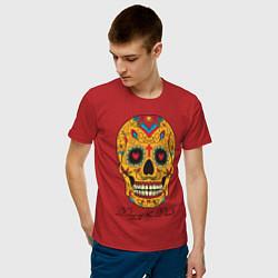 Футболка хлопковая мужская Мексиканский череп цвета красный — фото 2