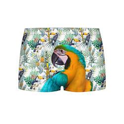 Трусы-боксеры мужские Летний попугай цвета 3D-принт — фото 1