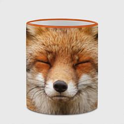 Кружка 3D Лиса щурится цвета 3D-оранжевый кант — фото 2