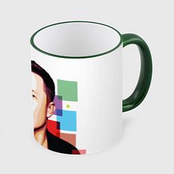 Кружка 3D Илон Маск цвета 3D-зеленый кант — фото 1