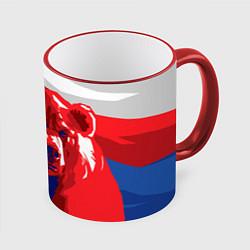 Кружка 3D Российский медведь цвета 3D-красный кант — фото 1