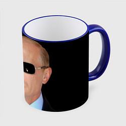 Кружка 3D Путин в очках цвета 3D-синий кант — фото 1