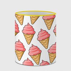 Кружка 3D Мороженки цвета 3D-желтый кант — фото 2