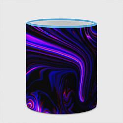 Кружка 3D Цветные разводы цвета 3D-небесно-голубой кант — фото 2