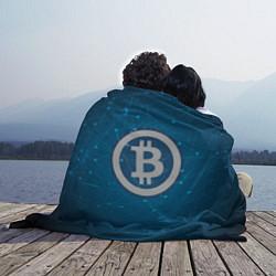 Плед флисовый Bitcoin Blue цвета 3D-принт — фото 2