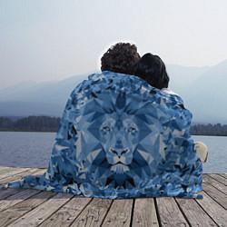 Плед флисовый Сине-бело-голубой лев цвета 3D — фото 2