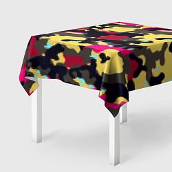 Скатерть для стола Камуфляж: желтый/черный/розовый цвета 3D — фото 2