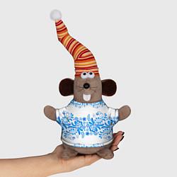 Игрушка-мышка Гжель цвета 3D-серый — фото 1