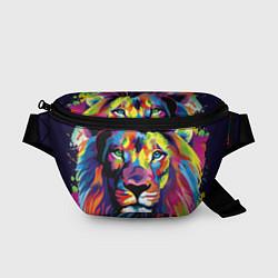 Поясная сумка Красочный лев цвета 3D-принт — фото 1