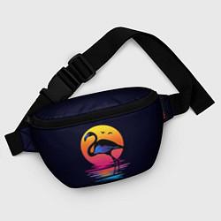 Поясная сумка Фламинго – дитя заката цвета 3D-принт — фото 2