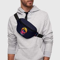 Поясная сумка Фламинго – дитя заката цвета 3D — фото 2