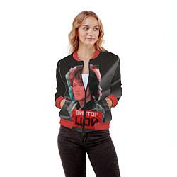 Бомбер женский Виктор Цой цвета 3D-красный — фото 2