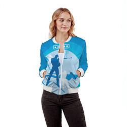 Бомбер женский Биатлон цвета 3D-белый — фото 2