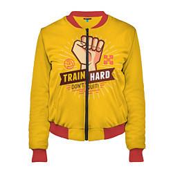 Женский бомбер Train hard, don't quit
