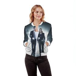 Бомбер женский Малдер и Скалли цвета 3D-белый — фото 2