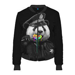 Бомбер женский Панда с карамелью цвета 3D-черный — фото 1