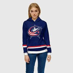 Толстовка-худи женская Columbus Blue Jackets цвета 3D-белый — фото 2