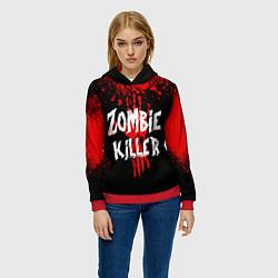 Толстовка-худи женская Zombie Killer цвета 3D-красный — фото 2