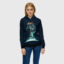 Толстовка-худи женская Планетарный скейтбординг цвета 3D-черный — фото 2