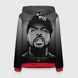 Толстовка-худи женская Ice Cube: Gangsta цвета 3D-красный — фото 1