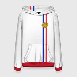 Толстовка-худи женская Франция: лента с гербом цвета 3D-красный — фото 1