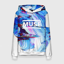 Толстовка-худи женская MUSE: Blue Colours цвета 3D-белый — фото 1