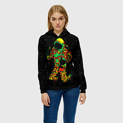Толстовка-худи женская Космонавт с кальяном цвета 3D-черный — фото 2