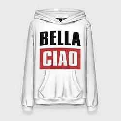 Толстовка-худи женская Bella Ciao цвета 3D-белый — фото 1