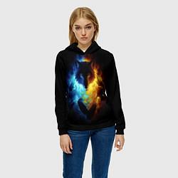 Толстовка-худи женская Волки в огне цвета 3D-черный — фото 2