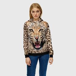 Толстовка-худи женская Взгляд леопарда цвета 3D-черный — фото 2