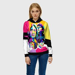 Толстовка-худи женская The Beatles: Poly-art цвета 3D-черный — фото 2
