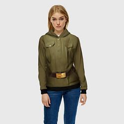 Толстовка-худи женская Униформа солдата цвета 3D-черный — фото 2
