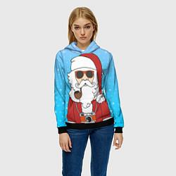 Толстовка-худи женская Дед мороз цвета 3D-черный — фото 2