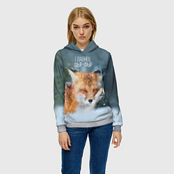 Толстовка-худи женская Лисичка фыр-фыр цвета 3D-меланж — фото 2