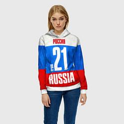 Толстовка-худи женская Russia: from 21 цвета 3D-белый — фото 2