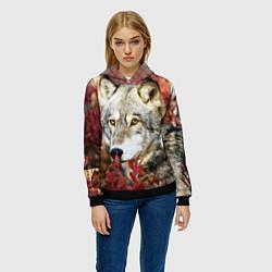 Толстовка-худи женская Волк в кустах цвета 3D-черный — фото 2