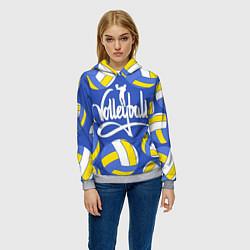 Толстовка-худи женская Волейбол 6 цвета 3D-меланж — фото 2