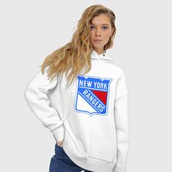 Толстовка оверсайз женская New York Rangers цвета белый — фото 2
