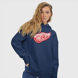 Толстовка оверсайз женская Detroit Red Wings цвета тёмно-синий — фото 2