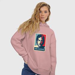Толстовка оверсайз женская Lennon Imagine цвета пыльно-розовый — фото 2