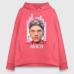 Толстовка оверсайз женская EQ: Avicii цвета коралловый — фото 1