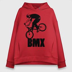 Толстовка оверсайз женская BMX 3 цвета красный — фото 1