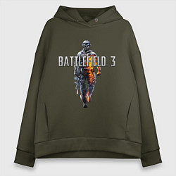 Толстовка оверсайз женская Battlefield 3 цвета хаки — фото 1