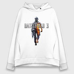 Толстовка оверсайз женская Battlefield 3 цвета белый — фото 1